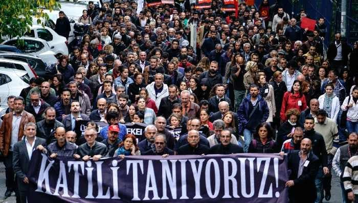 "Protesters with a banner reading, ""We know who the killer is"", Istanbul, Oct. 13, 2015. Halit Onur Sandal/NurPhoto/Corbis"