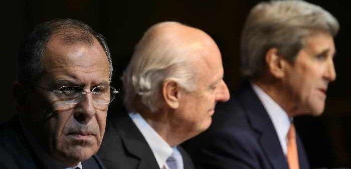 Russia's Foreign Minister Sergei Lavrov, UN Special Envoy for Syria Staffan de Mistura, and the U.S. Secretary of State John Kerry at the Syria talks, Vienna, October 30, 2015. Alexander Shcherbak/ITAR-TASS Photo/Corbis