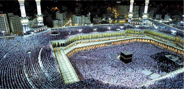 Pilgrims at the Grand Mosque, Mecca, Saudi Arabia. Kazuyoshi Nomachi/Corbis