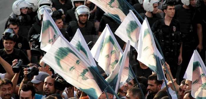 Demonstrators with pictures of imprisoned Kurdish leader Abdullah Ocalan, Diyarbakir, Turkey, Sept. 6, 2015. Sertac Kayar/Reuters/Corbis
