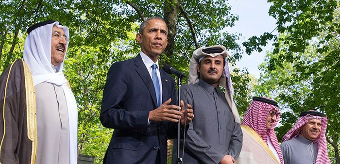 President Barack Obama with leaders of Arab nations at Camp David, Catoctin Mountain Park, Maryland, May 14, 2015. Kevin Dietsch/Pool/Associated Press
