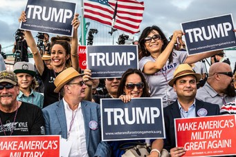 Rally for presidential candidate Donald Trump aboard the USS Iowa, Los Angeles, Sept. 15, 2015. Mark Peterson/Redux