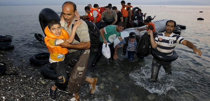 Syrian refugees arriving on the island of Kos, Greece