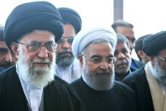 Ayatollah Ali Khamenei and President Hassan Rouhani at the funeral of a leading cleric, Mashhad, Iran, March 5, 2016.