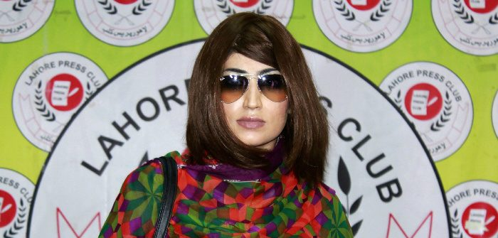 Qandeel Baloch at a press conference in Lahore, Pakistan, June 28, 2016. STR/AFP/Getty Images