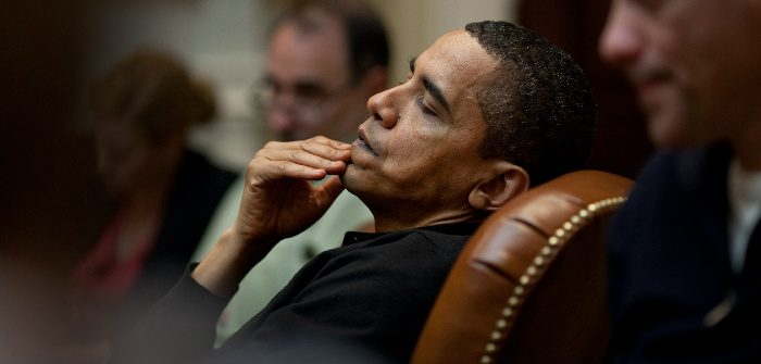 President Obama reflects during a meeting at the White House, March 15, 2009. The White House/Wikicommons