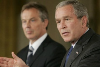 Prime Minister Tony Blair and President George W. Bush, the White House, Washington, D.C., July 28, 2006. Paul Morse/Wikicommons