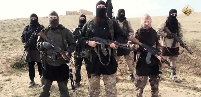 ISIS fighters appear in a video online on Feb. 4, 2015.
