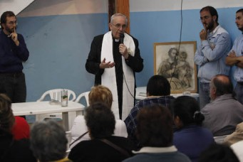 Jorge Bergoglio, then archbishop of Buenos Aires, at a drug rehabilitation center, Buenos Aires, 2011. Fernando Massobrio/GDA via Associated Press