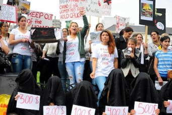 Protest against abduction of Yazidi women and girls by Islamic State group, Brussels, Sept. 8, 2014. Dursun Aydemir/ Anadolu Agency