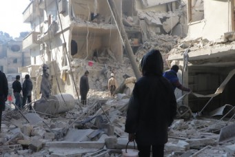 Aftermath of Syrian airstrikes, Aleppo, Dec. 4, 2016. Ibrahim Ebu Leys/Anadolu Images