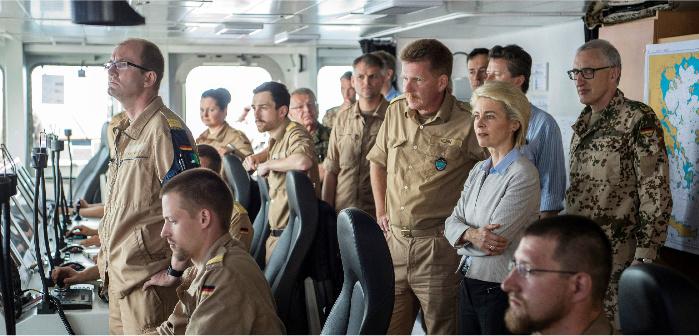 German Defense Minister Ursula von der Leyen aboard the FGS Bonn in the Aegean Sea, April 20, 2016. John MacDougall/Reuters
