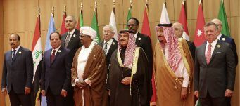 Leaders pose for group photo at Arab League summit, Dead Sea, Jordan, March 29, 2017. Raad Adayleh/ Associated Press
