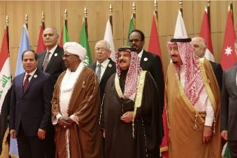 Leaders pose for group photo at Arab League summit, Dead Sea, Jordan, March 29, 2017. Raad Adayleh/ Associated Press