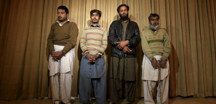 Four accused terrorists, Peshawar, Pakistan, Jan. 23, 2016. Fayaz Aziz/Reuters