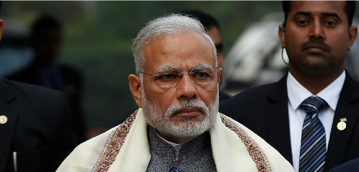 Modi at the Parliament House, New Delhi, Jan. 31, 2017. Adnan Abidi/Reuters