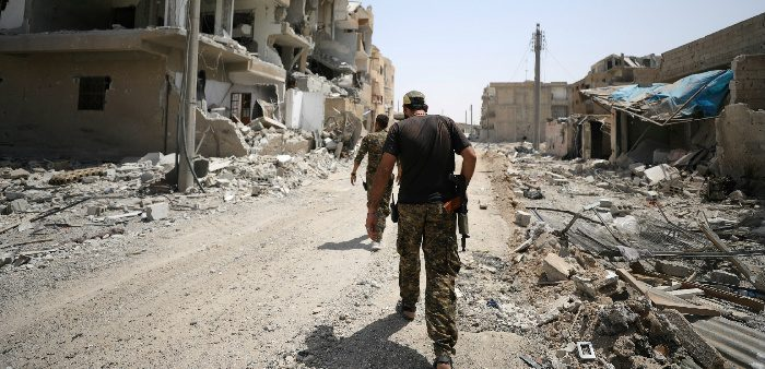 Fighters from Syrian Democratic Force (SDF) in Raqqa, Syria, July 28, 2017. Rodi Said/Reuters