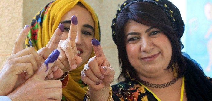 Voters during the Kurdish independence referendum in Halabja, Iraq, Sept. 25, 2017. Alaa Al-Marjani/Reuters